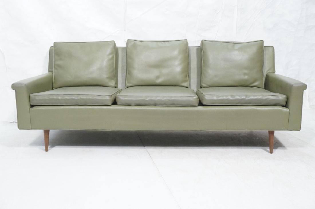Thayer Coggin Olive Green Vinyl Modern Sofa Couch - 2