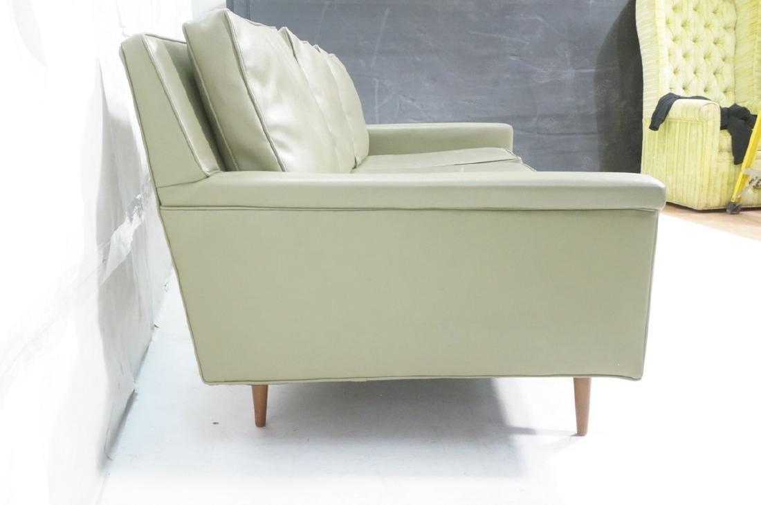 Thayer Coggin Olive Green Vinyl Modern Sofa Couch - 3