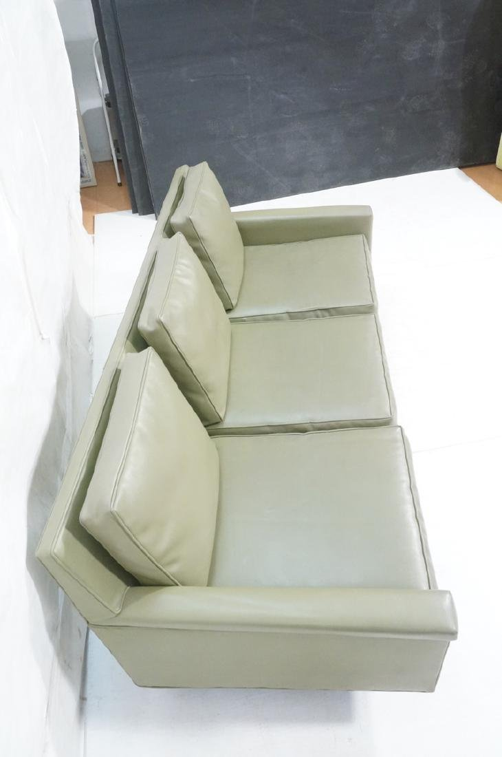 Thayer Coggin Olive Green Vinyl Modern Sofa Couch - 5