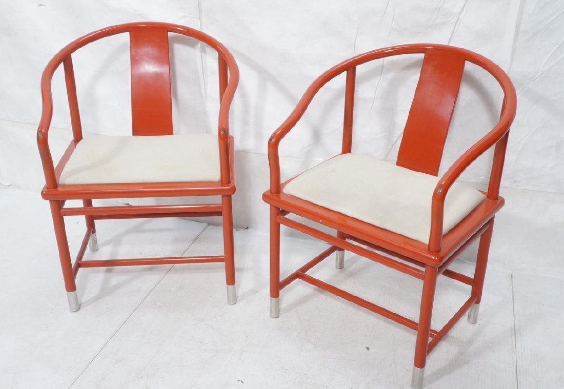 Pr BRUETON Red Lacquered Asian Lounge Chairs. Red