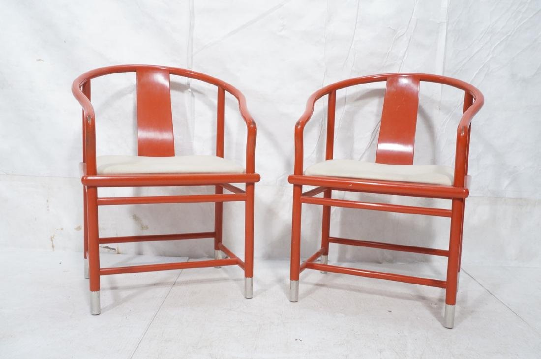 Pr BRUETON Red Lacquered Asian Lounge Chairs. Red - 2