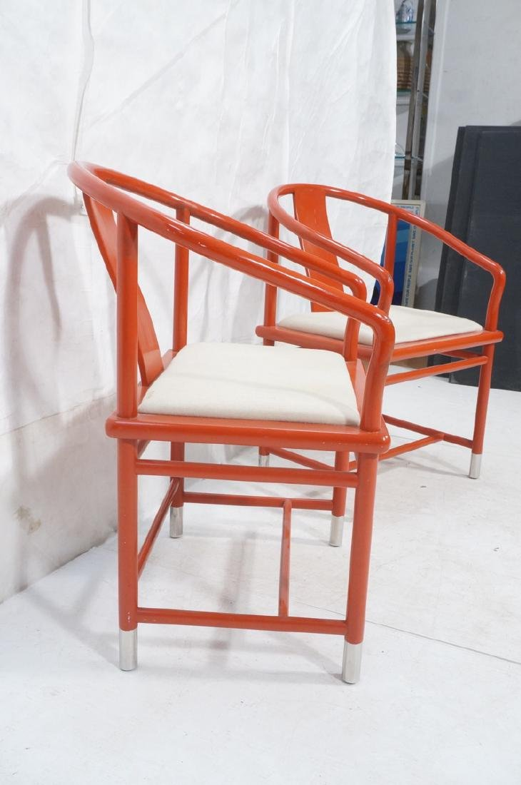 Pr BRUETON Red Lacquered Asian Lounge Chairs. Red - 3