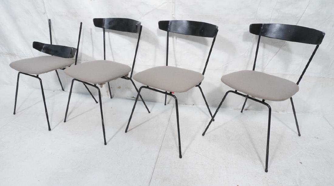4 PAUL McCOBB Style Black Iron Side Dining Chairs