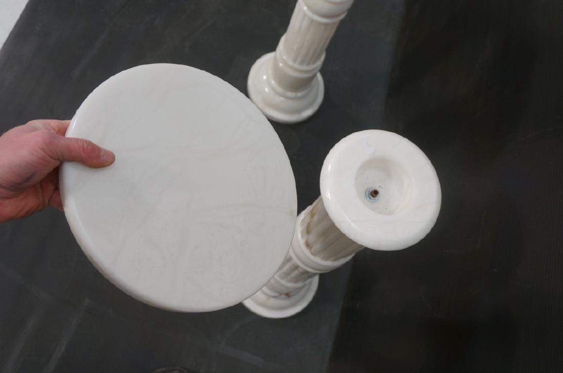 Pr Contemporary White Alabaster Pedestals. Fluted - 10