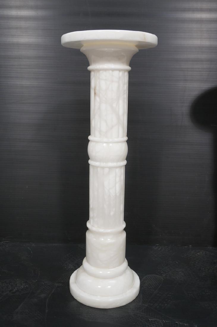 Pr Contemporary White Alabaster Pedestals. Fluted - 2