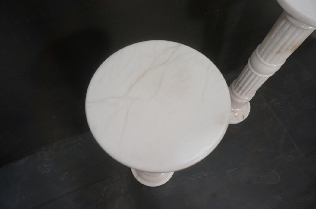 Pr Contemporary White Alabaster Pedestals. Fluted - 4