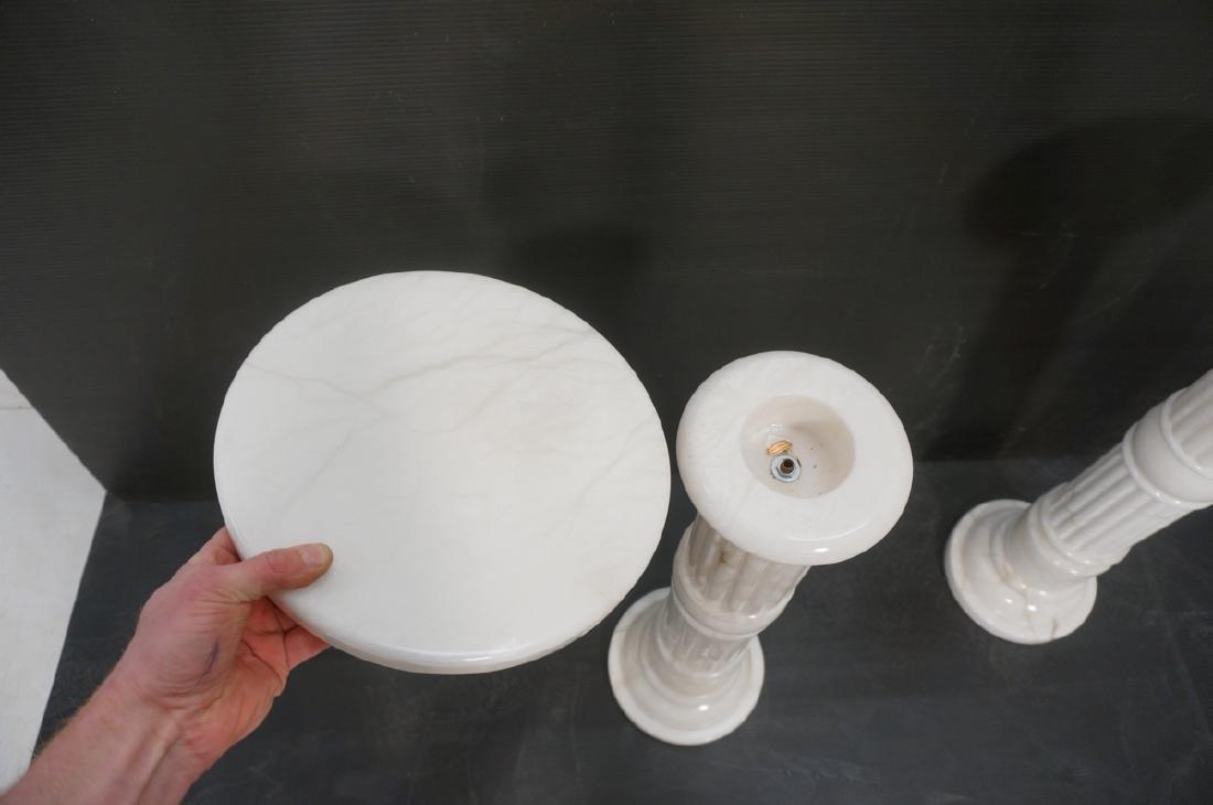 Pr Contemporary White Alabaster Pedestals. Fluted - 5