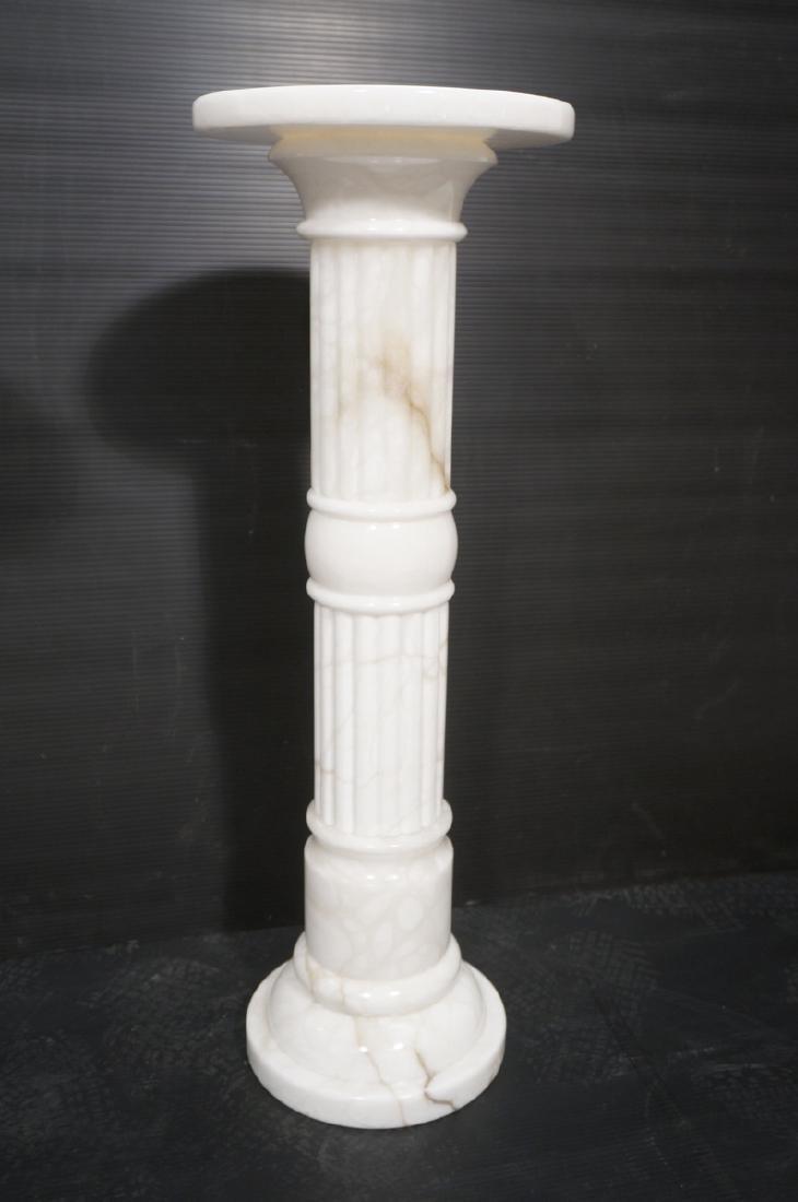 Pr Contemporary White Alabaster Pedestals. Fluted - 7