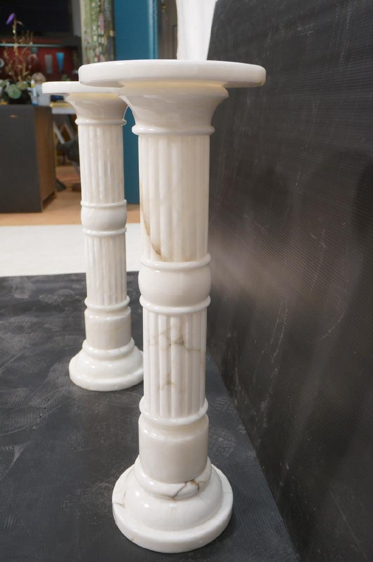 Pr Contemporary White Alabaster Pedestals. Fluted - 8