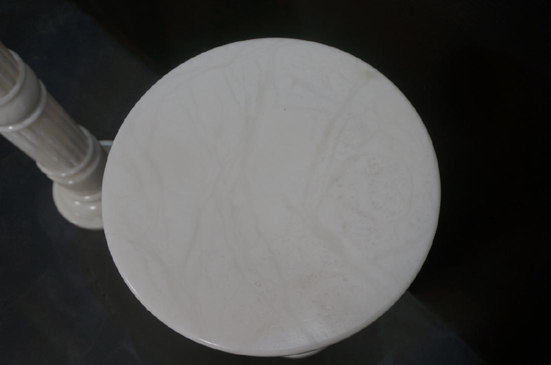 Pr Contemporary White Alabaster Pedestals. Fluted - 9