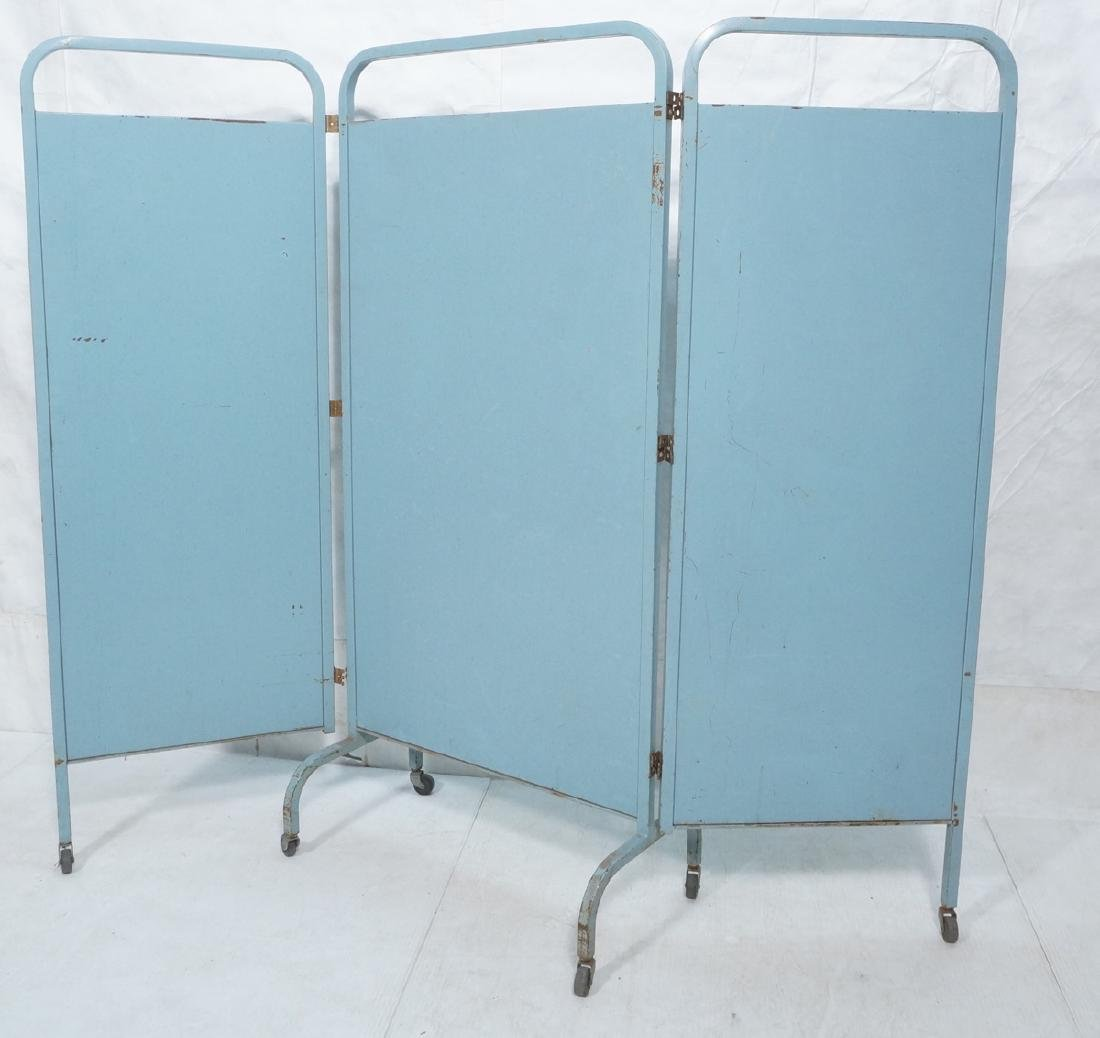 Industrial 3 Panel Blue Metal Folding Screen. Pla