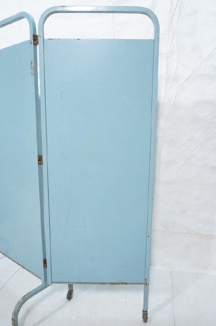 Industrial 3 Panel Blue Metal Folding Screen. Pla - 2