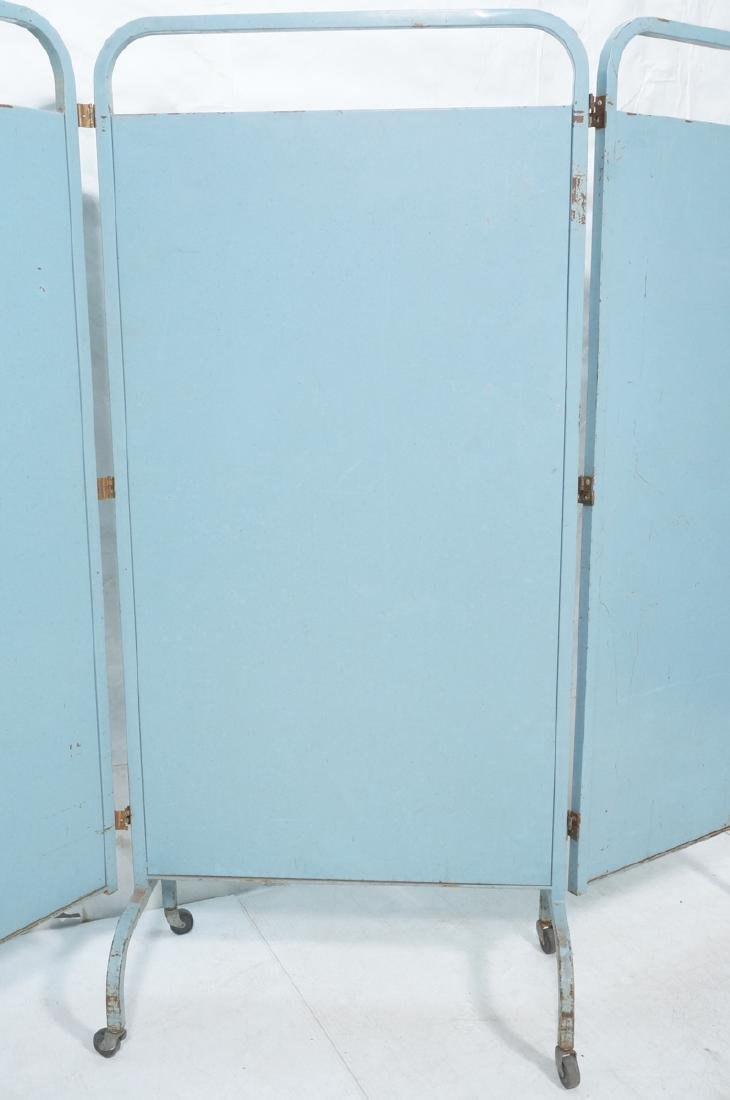 Industrial 3 Panel Blue Metal Folding Screen. Pla - 3