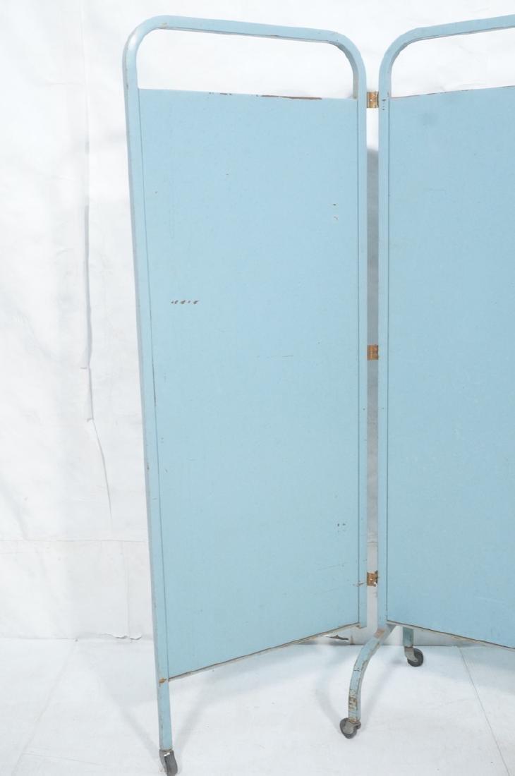 Industrial 3 Panel Blue Metal Folding Screen. Pla - 4