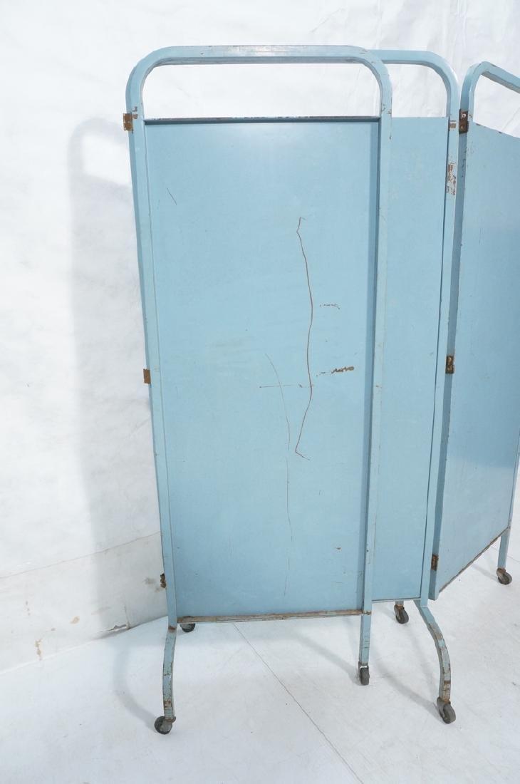 Industrial 3 Panel Blue Metal Folding Screen. Pla - 5