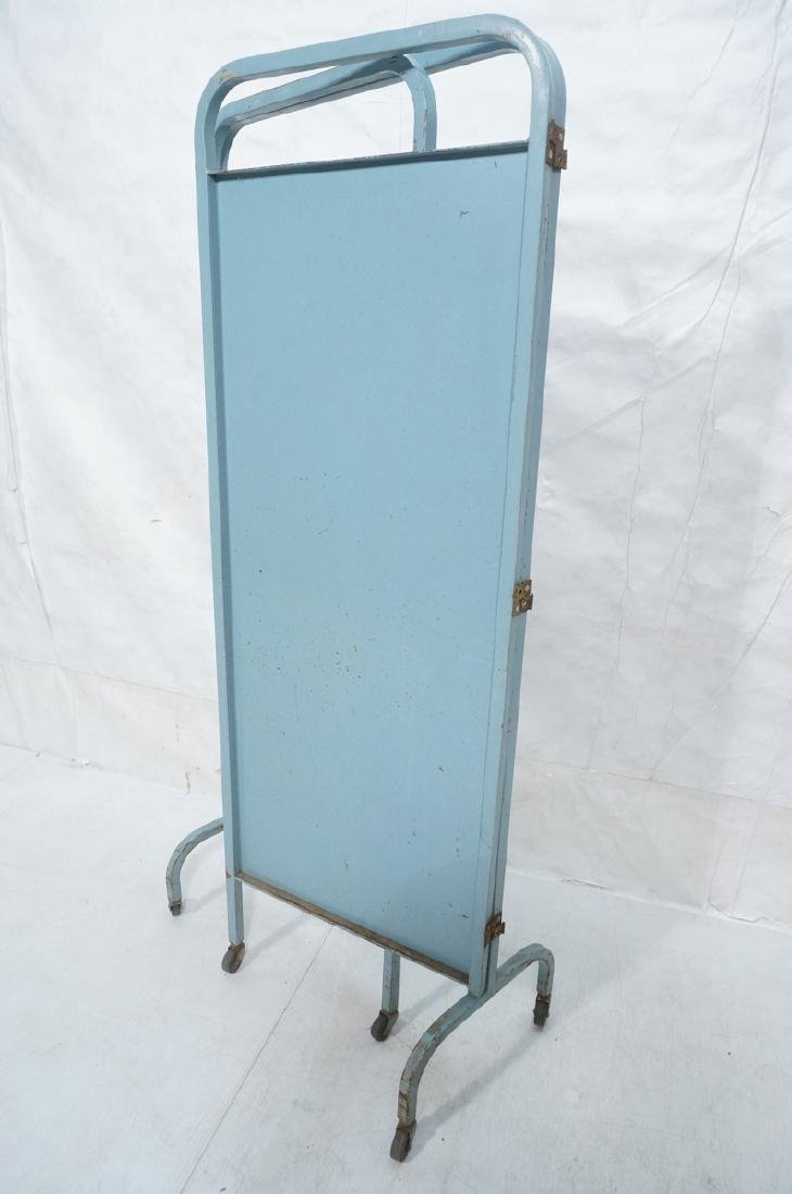 Industrial 3 Panel Blue Metal Folding Screen. Pla - 6