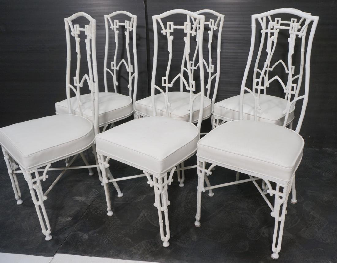 6 White Painted Aluminum Faux Bamboo Dining Chair