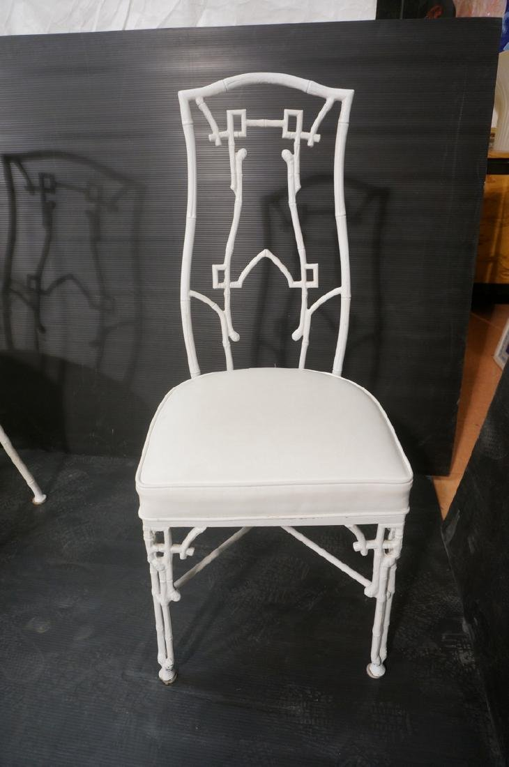 6 White Painted Aluminum Faux Bamboo Dining Chair - 2
