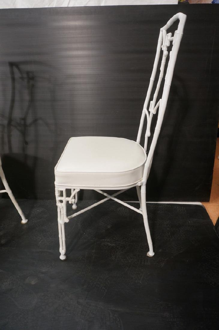 6 White Painted Aluminum Faux Bamboo Dining Chair - 3