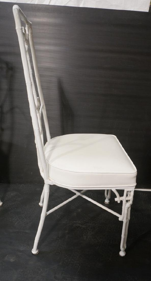 6 White Painted Aluminum Faux Bamboo Dining Chair - 5