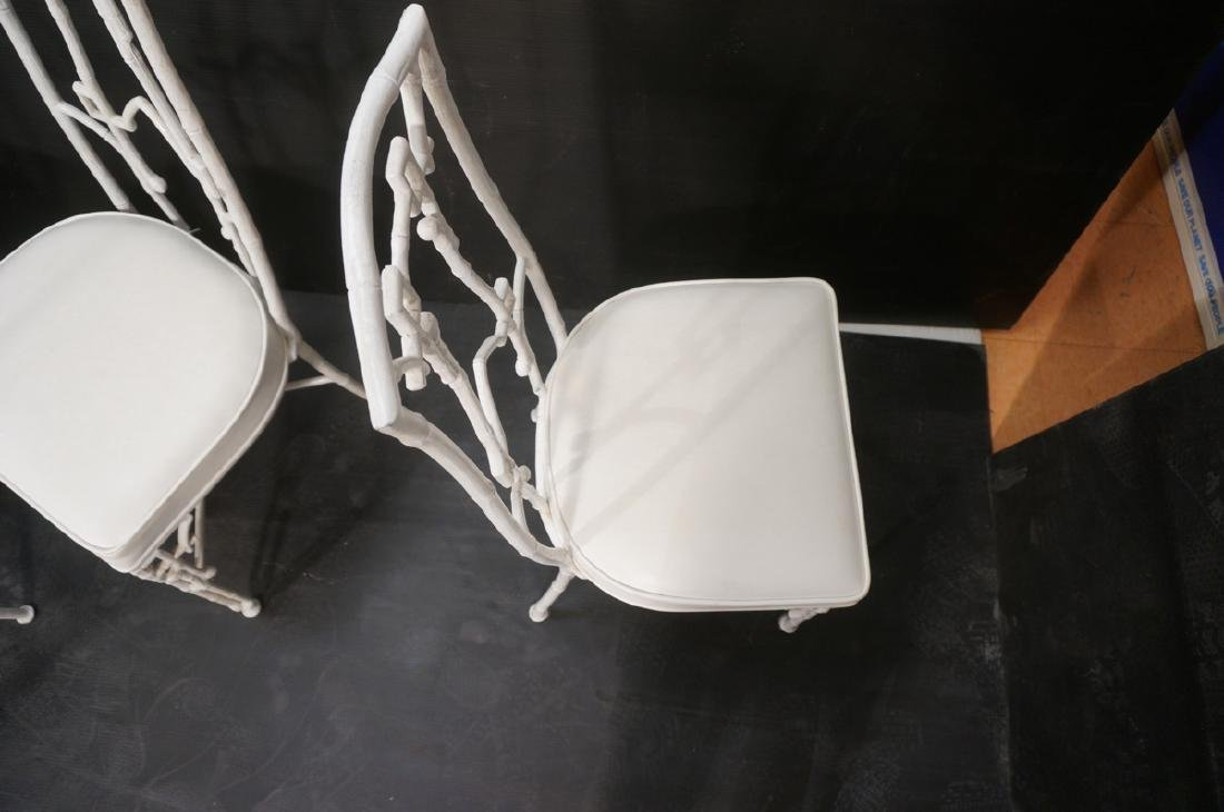 6 White Painted Aluminum Faux Bamboo Dining Chair - 6