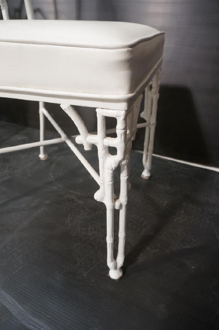 6 White Painted Aluminum Faux Bamboo Dining Chair - 7