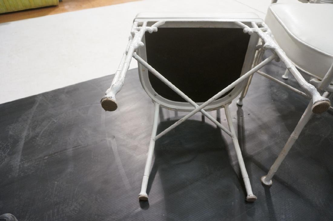 6 White Painted Aluminum Faux Bamboo Dining Chair - 8