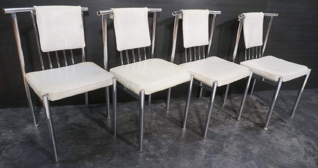 4 Chrome Tube 70s Modern BRODY Dining Chairs. Chr