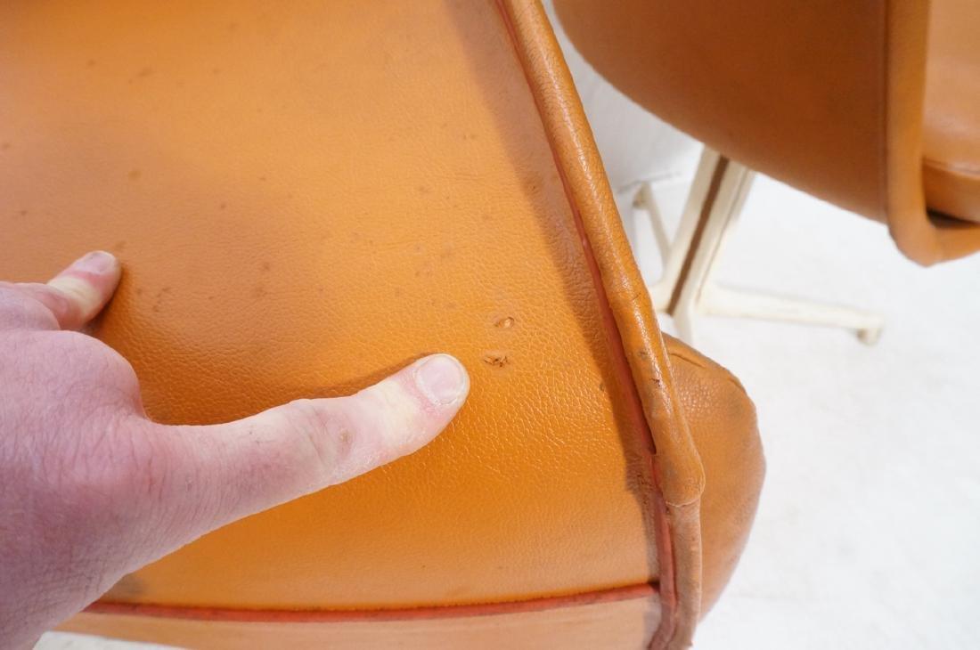 3 BURKE Orange Vinyl Shell Chairs on White Pedest - 10