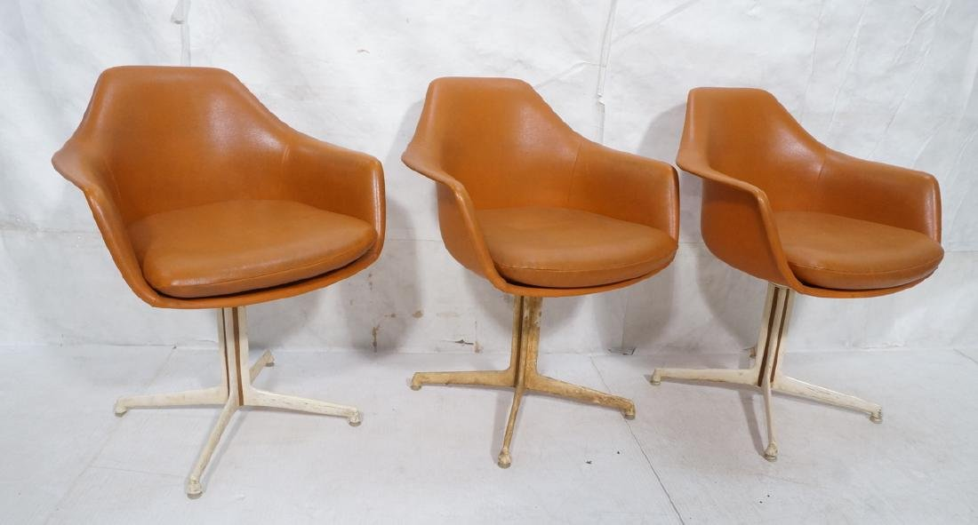 3 BURKE Orange Vinyl Shell Chairs on White Pedest