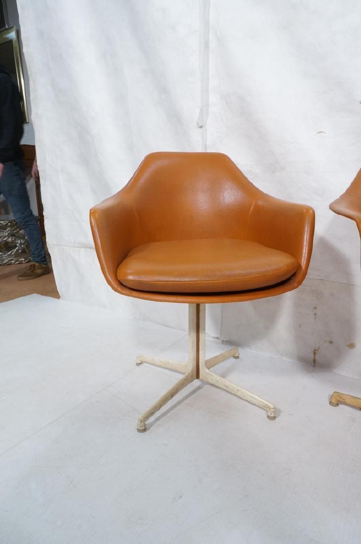 3 BURKE Orange Vinyl Shell Chairs on White Pedest - 2