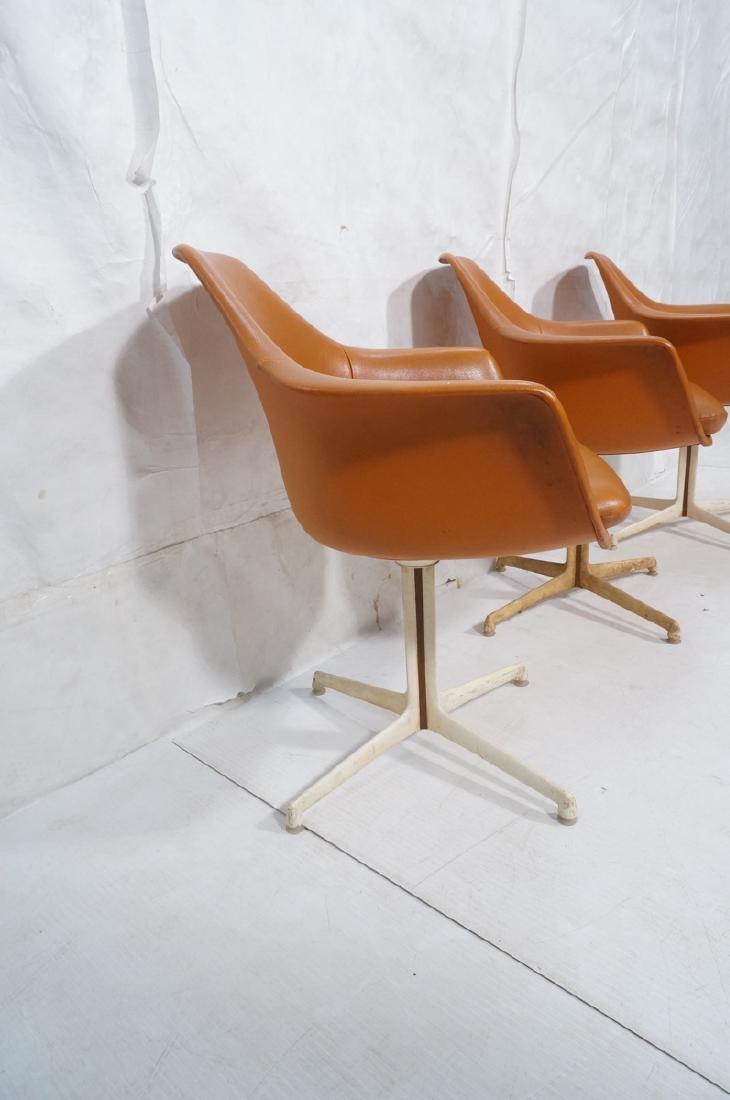 3 BURKE Orange Vinyl Shell Chairs on White Pedest - 3