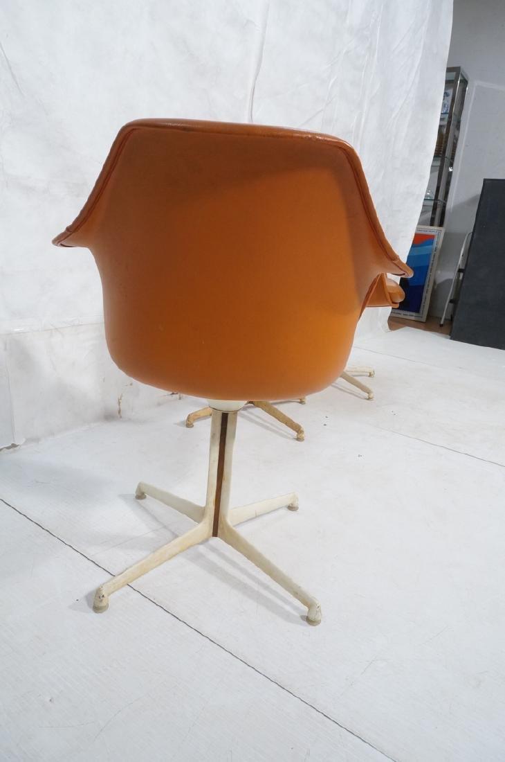 3 BURKE Orange Vinyl Shell Chairs on White Pedest - 4