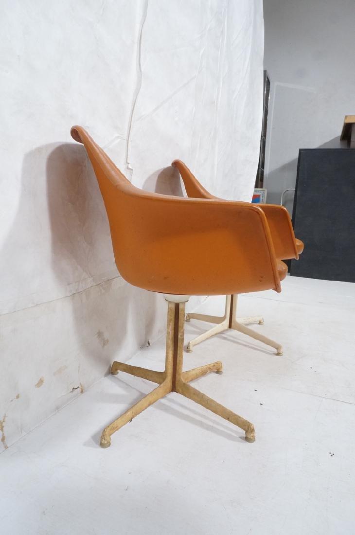 3 BURKE Orange Vinyl Shell Chairs on White Pedest - 5