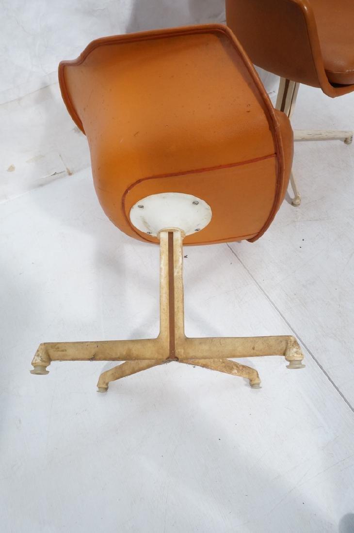 3 BURKE Orange Vinyl Shell Chairs on White Pedest - 8