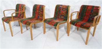 4 KNOLL Intl Oak Frame Lounge Chairs 2 arm chai