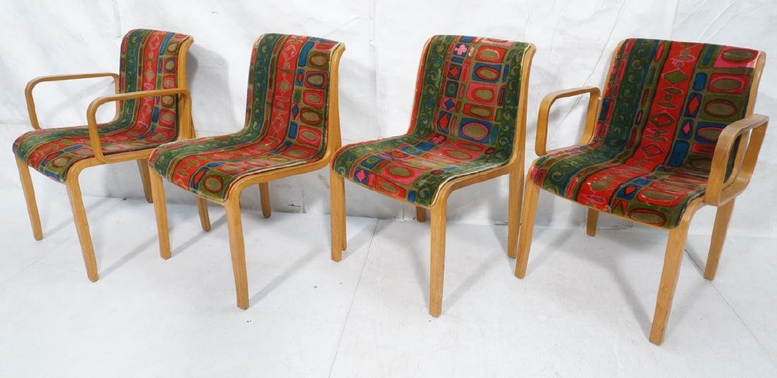 4 KNOLL Int'l Oak Frame Lounge Chairs. 2 arm chai