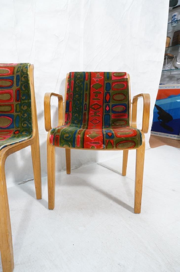 4 KNOLL Int'l Oak Frame Lounge Chairs. 2 arm chai - 2