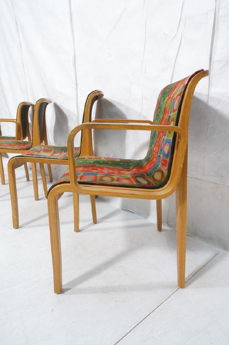 4 KNOLL Int'l Oak Frame Lounge Chairs. 2 arm chai - 4