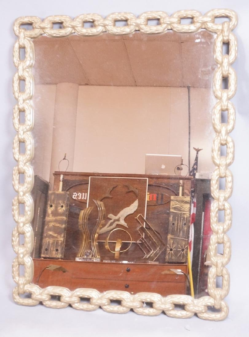 Cast Metal Chain Link Frame Wall Mirror. Matte go