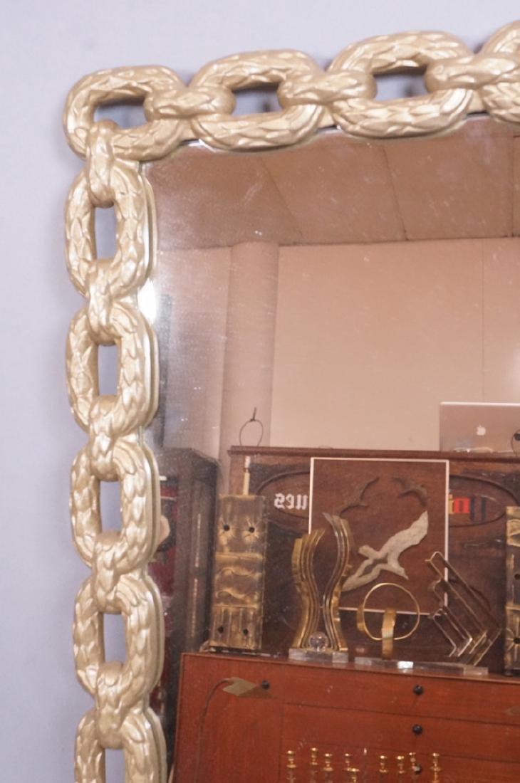 Cast Metal Chain Link Frame Wall Mirror. Matte go - 2