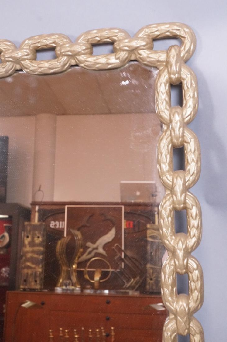Cast Metal Chain Link Frame Wall Mirror. Matte go - 3