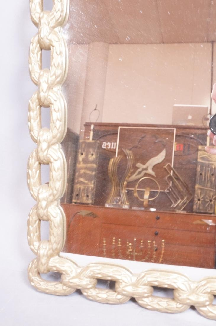 Cast Metal Chain Link Frame Wall Mirror. Matte go - 5