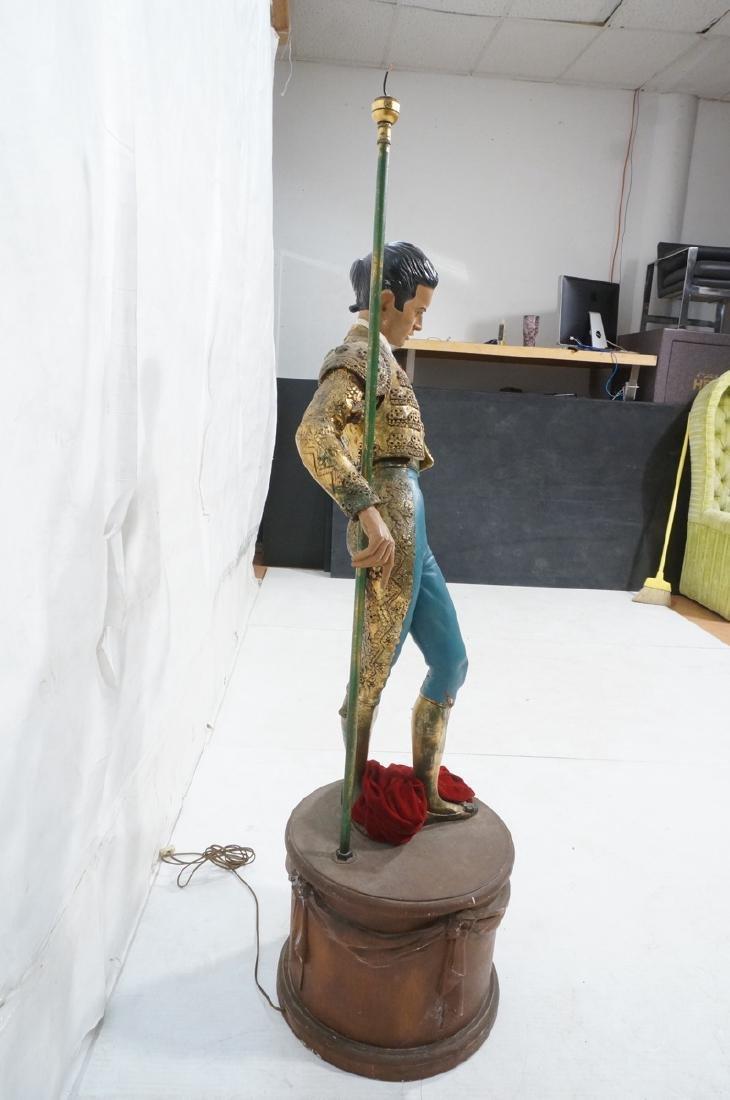 Figural Matador Floor Lamp. Wood drum form base w - 3