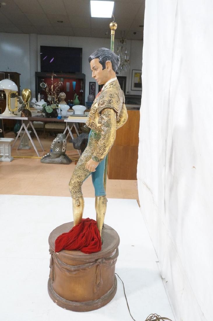 Figural Matador Floor Lamp. Wood drum form base w - 4
