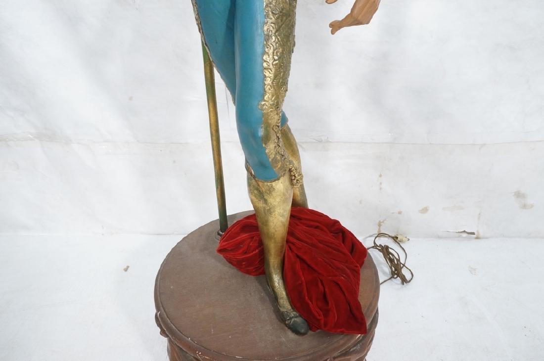 Figural Matador Floor Lamp. Wood drum form base w - 8