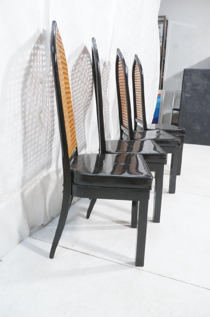 4 Pointed Arch Back Patent Leather Dining Chairs. - 3