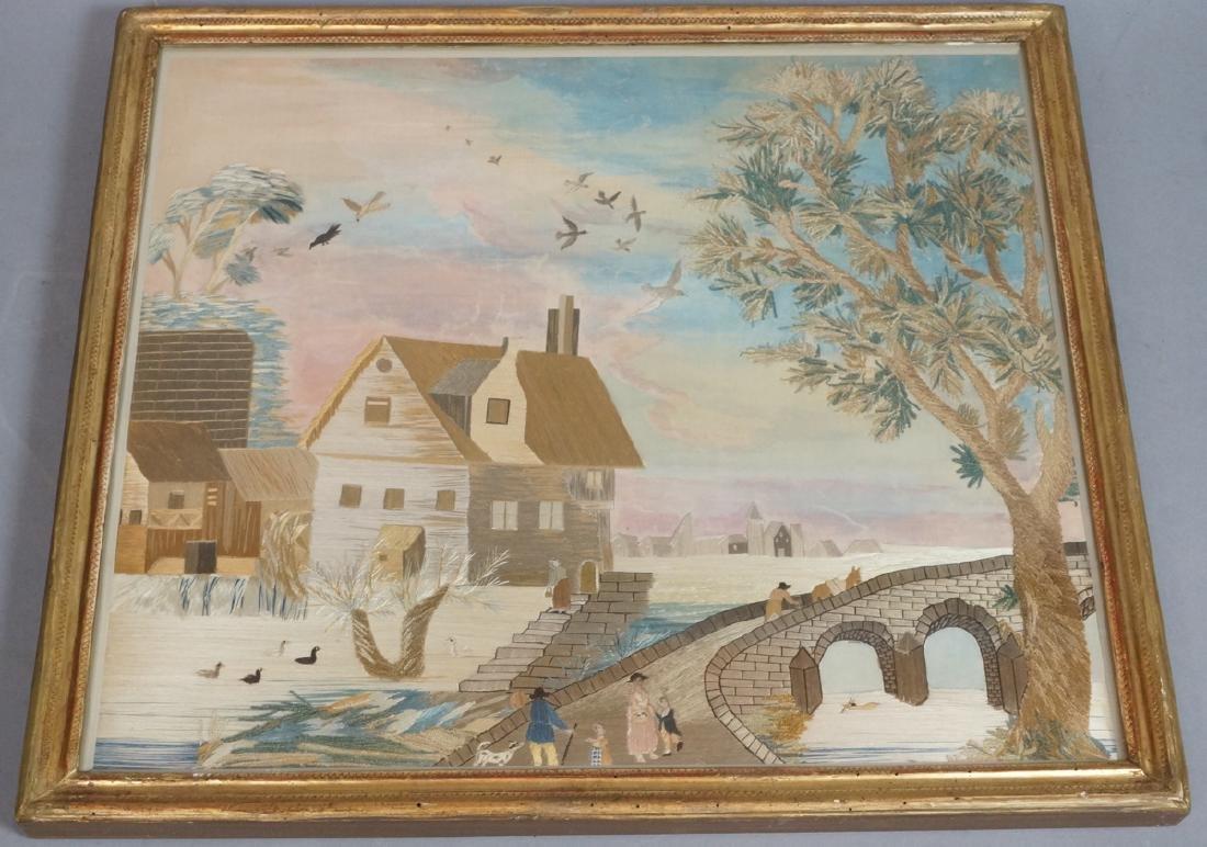 Antique Silk Embroidered Landscape Needlework Art