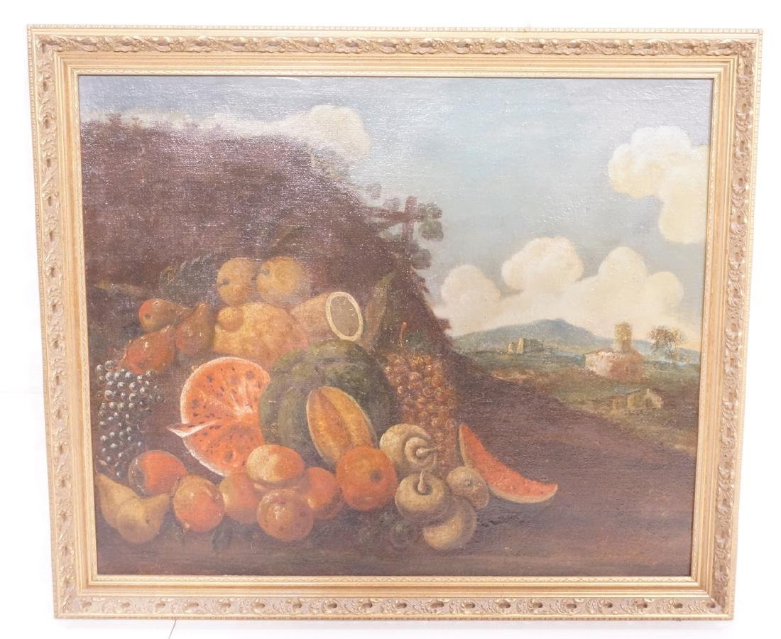 19th Cent. Still Life Landscape Oil Painting. Uns