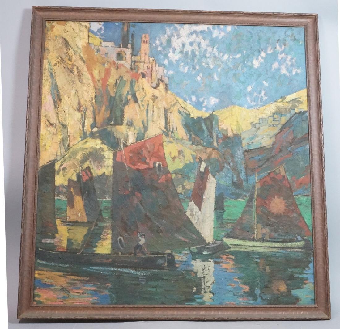 GIOVANNI MUELLER Oil Painting Coastal Scene. Abst
